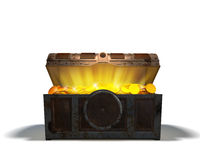 Treasure chest with gold vector illustration