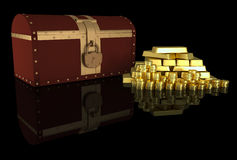 Treasure chest and gold Royalty Free Stock Photography