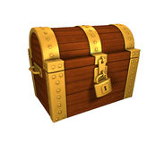Treasure Chest Gold closed and locked. Treasure Chest, closed and locked, gold and wood. on white background, easy to isolate Royalty Free Stock Photos