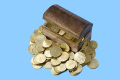 Treasure chest and gold coins royalty free stock photo