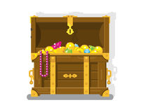 Treasure chest with gold coins Stock Photo