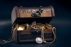 Treasure chest with gold coins Stock Images