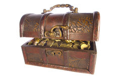 Treasure chest with gold coins isolated. On white background royalty free stock photos