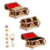 Treasure chest with gold coins and precious stones Royalty Free Stock Photo