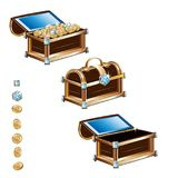 Treasure chest with gold coins and precious stones Stock Photos