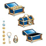 Treasure chest with gold coins and precious stones Stock Image