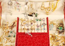 Treasure chest with gold and custom jewelry Stock Image
