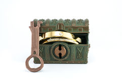 A treasure chest and gold. Royalty Free Stock Photo