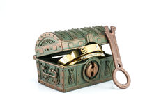 A treasure chest and gold. Stock Photo