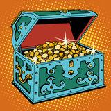 Treasure chest with Golden coins. Pop art retro style. Pirates and treasures. The gain and wealth. The business concept of financial success. Tales and Royalty Free Stock Photo