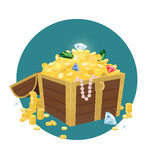 Treasure Chest With Golden Coins. Vector illustration of an open treasure chest full of gold Royalty Free Stock Photos