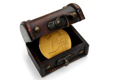Treasure chest with golden euro Stock Images
