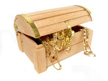 Treasure chest of golden jewels Royalty Free Stock Photo