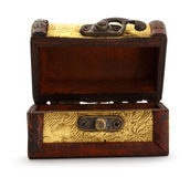 Treasure chest. Golden treasure chest trunk on white background Stock Photo
