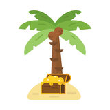 Treasure chest and green palm tree vector illustration. Stock Photo