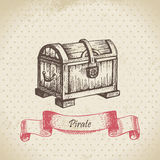 Treasure chest. Hand drawn illustration Stock Images