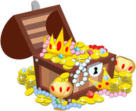 Treasure Chest Isolated. Illustration featuring an open wooden treasure chest full of of glimmering treasure, including a crown, pearl necklace, gold coins Stock Images