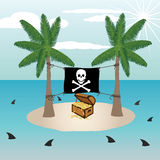 Treasure chest in an island. Illustration of treasure chest in a small remote island with pirate flag surrounded by sharks Stock Photos