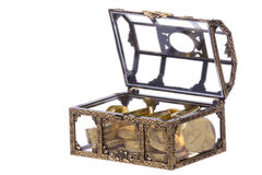 Treasure Chest Isolated. Isolated image of a treasure chest with gold coins Stock Images