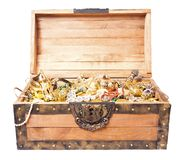 Treasure chest isolated on white Royalty Free Stock Images