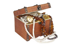 Treasure chest isolated Royalty Free Stock Photos