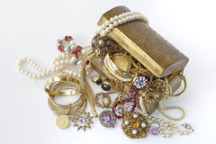Treasure chest with jewellery. On a white background stock photo