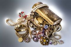 Treasure chest with jewellery stock illustration