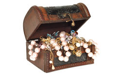 Treasure chest with jewelry Royalty Free Stock Photo