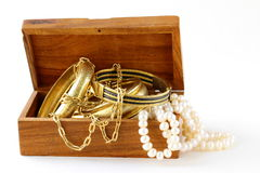 Treasure chest  jewelry, bracelets and pearl Stock Image