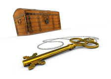 Treasure chest and key. 3d rendered image. Treasure chest and key Stock Photos