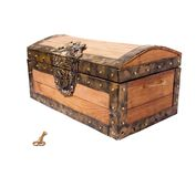 Treasure chest with key isolated on white Royalty Free Stock Images