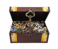 Treasure chest with key over white Royalty Free Stock Photos