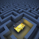 Treasure chest in labyrinth. 3d illustration Royalty Free Stock Images