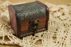 Treasure Chest. A treasure chest on linen Royalty Free Stock Photos