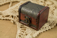 Treasure Chest. A treasure chest on linen Stock Photos