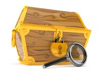 Treasure chest with magnifying glass. On white background Royalty Free Stock Photography