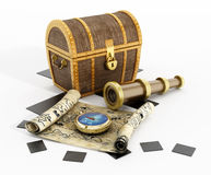 Treasure chest, map, compass and looking glass Stock Photos