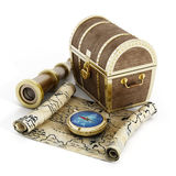 Treasure chest, map, compass and looking glass Stock Images