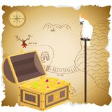 Treasure chest with map. Pirate treasure. Parrot Cockatoo sits in the vault of the treasure. vector illustration