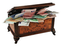 Treasure chest with money Royalty Free Stock Photos