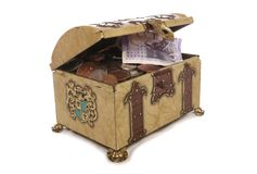 Treasure chest with money Royalty Free Stock Image