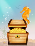 Treasure chest in the ocean Stock Photography
