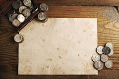 Treasure chest and old coins Stock Photo