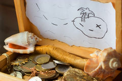 Treasure chest, old coins Royalty Free Stock Photo