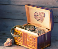 Treasure chest, old coins Royalty Free Stock Images