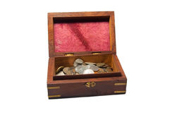 Treasure chest. Opened Treasure Chest with Coins Isolated on White Background Stock Photography