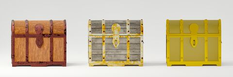 Free Treasure Chest Or Antique Treasure Box, 3 Patterns, Wood Pattern, Plank Pattern, Rust-proof Metal, And Clean Golden Pattern. White Royalty Free Stock Images - 190467419