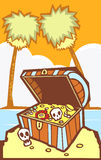 Treasure Chest with Palm trees Royalty Free Stock Photography