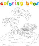 Treasure chest and palms on the island. Coloring book for kids. Vector illustration Royalty Free Stock Images