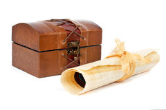 Treasure chest and papyrus scroll Royalty Free Stock Image